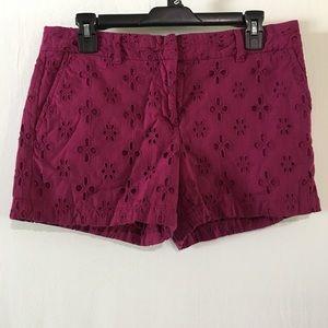 🛍💰Ann Taylor Loft Eyelet Berry Original Shorts